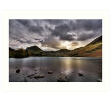 As the sun sets over Buttermere Art Print