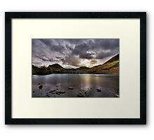 As the sun sets over Buttermere Framed Print