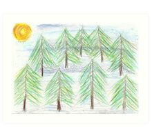 fir trees - oil pastels Art Print