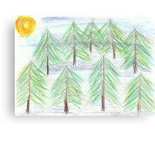 fir trees - oil pastels Canvas Print