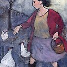 Woman feeding chickens by Bethan Matthews