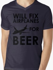 Will Fix Airplanes For BEER Mens V-Neck T-Shirt