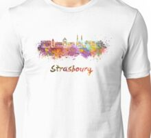 Strasbourg skyline in watercolor Unisex T-Shirt