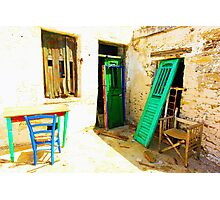 doors table and chairs Photographic Print