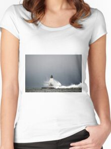 Stormy Ludington Lighthouse 3 Women's Fitted Scoop T-Shirt