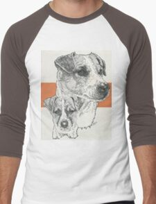 Jack Russell, smooth coat, Father & Son Men's Baseball ¾ T-Shirt