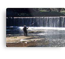 Fishing on the River Coquet Metal Print
