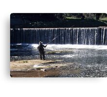 Fishing on the River Coquet Canvas Print