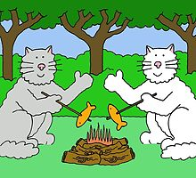 Two cats toasting fish by a camp fire. by KateTaylor