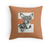 Rat Terrier, Father & Son Throw Pillow