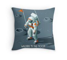 Isometric Moonwalking Astronaut Throw Pillow