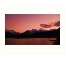 Pink Sky at night, Banff National Park, Canada Art Print
