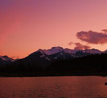 Pink Sky at night, Banff National Park, Canada by KerryElaine
