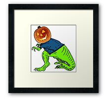 Cool T-Rex with the Jack O Lantern Head Framed Print
