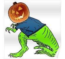 Cool T-Rex with the Jack O Lantern Head Poster