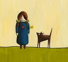 Between the Line - Girl with Dog by Sibylle Dorr
