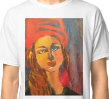 Woman in Red Hat Classic T-Shirt