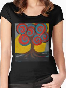 Recovery Tree ~ print of oil pastel portrait Women's Fitted Scoop T-Shirt