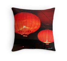 Red lanterns by Lily Throw Pillow