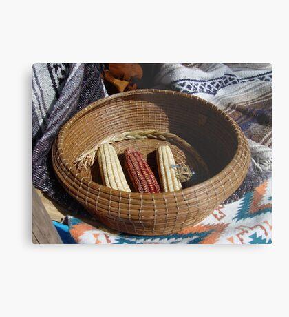 Pine Needle Basket and Indian Corn Metal Print
