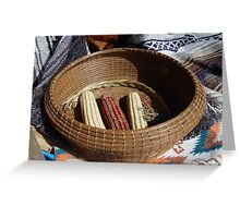 Pine Needle Basket and Indian Corn Greeting Card