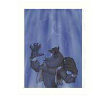 Badass Werewolf Roaring In Lightning Art Print