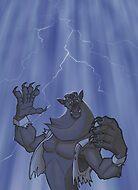 Badass Werewolf Roaring In Lightning by hamstertoybox