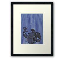 Badass Werewolf Roaring In Lightning Framed Print