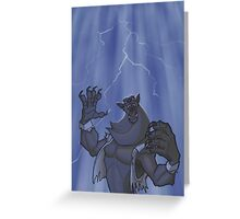 Badass Werewolf Roaring In Lightning Greeting Card