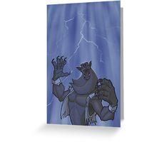 Badass Werewolf Roaring In Lightning Greeting Card