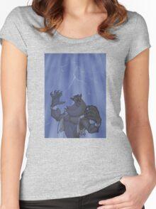 Badass Werewolf Roaring In Lightning Women's Fitted Scoop T-Shirt