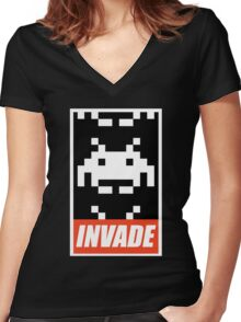 OBEY STYLE SPACE INVADER Women's Fitted V-Neck T-Shirt