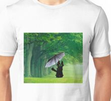 Black Cat In The Rain Unisex T-Shirt