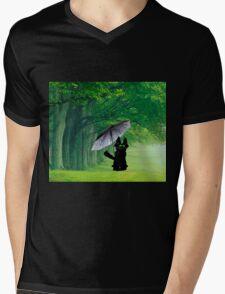Black Cat In The Rain Mens V-Neck T-Shirt