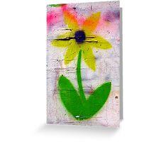 brick lane graffiti orange flower Greeting Card