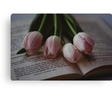 Tulips and Literature Canvas Print