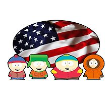 South park - US flag ( white ) by Cornichon66
