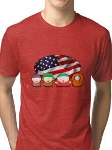 South park - US flag ( white ) Tri-blend T-Shirt