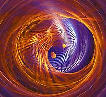 Abstract fantasy tunnel with yellow and purple lines by Oksana Ariskina