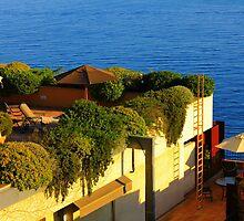 Sea view Balcony on the French Riviera at Sunset by Atanas Bozhikov NASKO