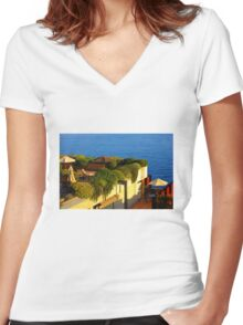 Sea view Balcony on the French Riviera at Sunset Women's Fitted V-Neck T-Shirt
