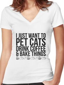 Pet Cats, Drink Coffee Women's Fitted V-Neck T-Shirt
