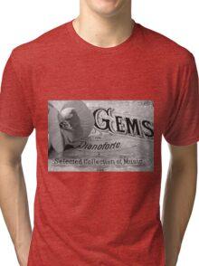 White Begonia on Gems - Pianoforte Tri-blend T-Shirt