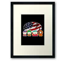 South park- US flag ( black ) Framed Print