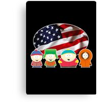 South park- US flag ( black ) Canvas Print