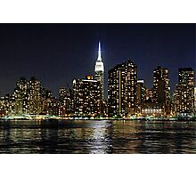 Empire State  Building - Gantry Plaza Night Photographic Print