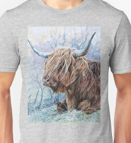 highland cow on a frosty winters day. Unisex T-Shirt