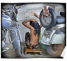 Girl, washing in the streets of Delhi, India Poster