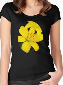 Yellow Lily Flower Art Women's Fitted Scoop T-Shirt