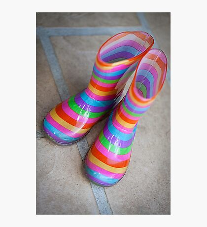 Rainbow gumboots Photographic Print